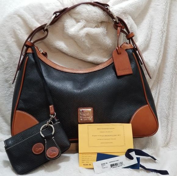 Dooney & Bourke Handbags - DOONEY & BOURKE HARRISON HOBO BLACK & BROWN